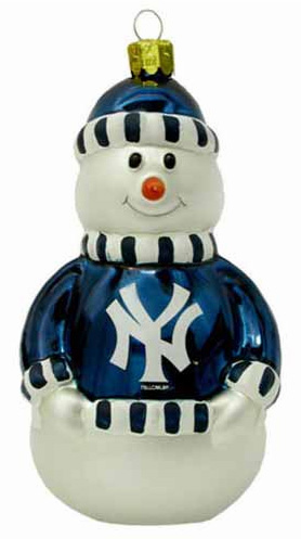 New York Yankees Glass Snowman Ornament