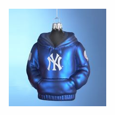 New York Yankees Hoodie Sweatshirt Glass Ornament