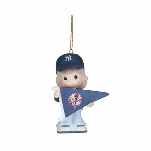 New York Yankees My Team's A Home Run Baseball Girl Retired Ornament by Precious Moments