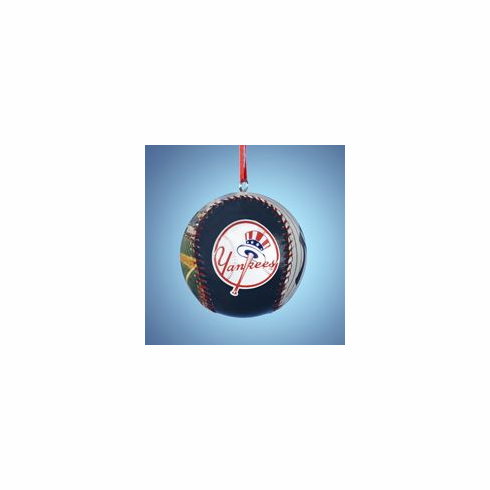 New York Yankees Photo Baseball Mini Ornament