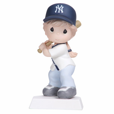 New York Yankees Swing For The Fence Girl Batting Retired Baseball Figurine by Precious Moments