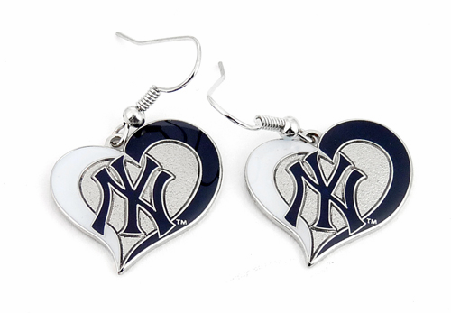 New York Yankees Swirl Heart Dangle Earrings<br>ONLY 9 LEFT!
