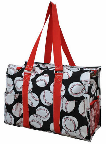NGIL Baseballs on Black Large Utility Canvas Tote Bag<br>2 COLORS AVAILABLE!