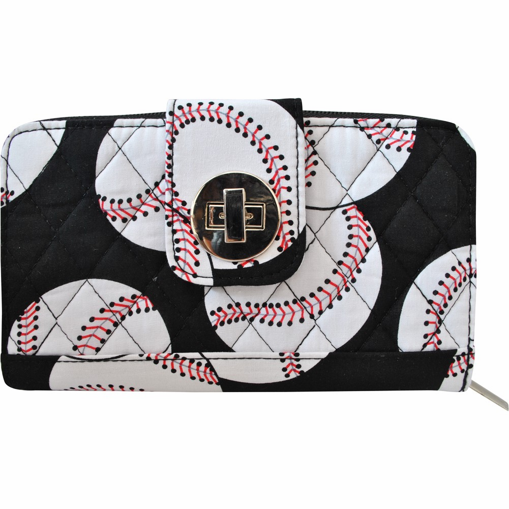 NGIL Baseballs on Black Quilted Women's Wallet<br>LESS THAN 6 LEFT!
