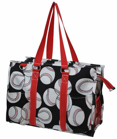 NGIL Baseballs on Black Utility Canvas Tote Bag<br>2 COLORS AVAILABLE!
