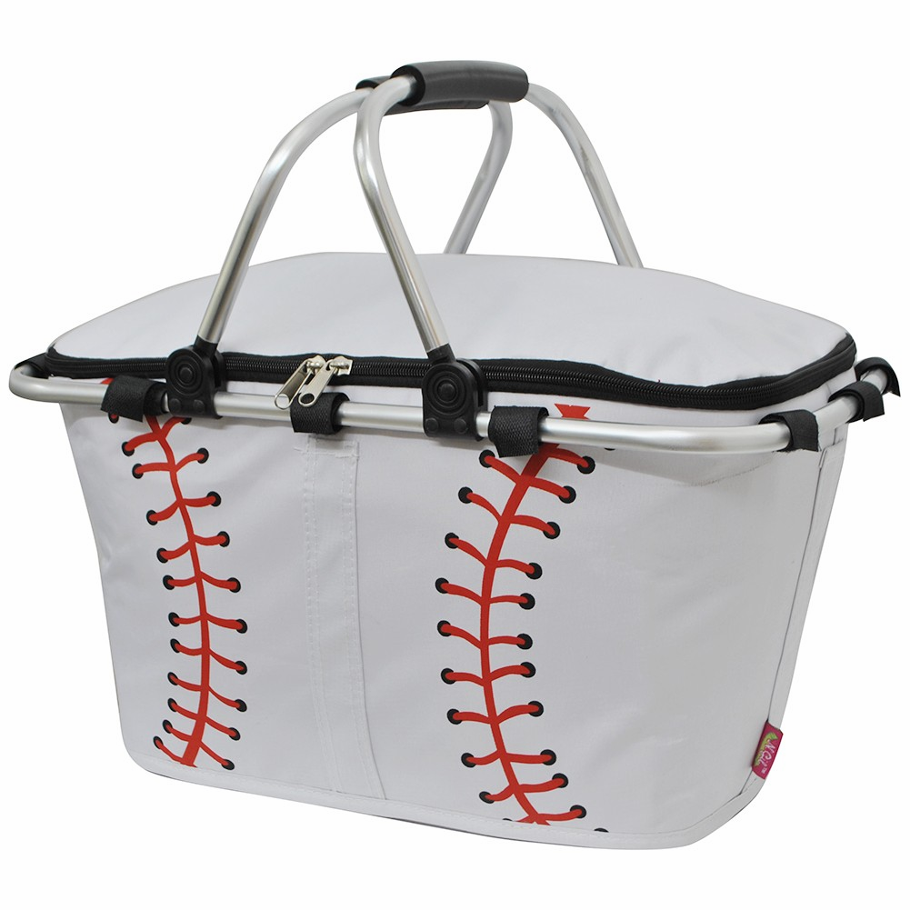 NGIL White Baseball Insulated Market Basket<br>LESS THAN 6 LEFT!