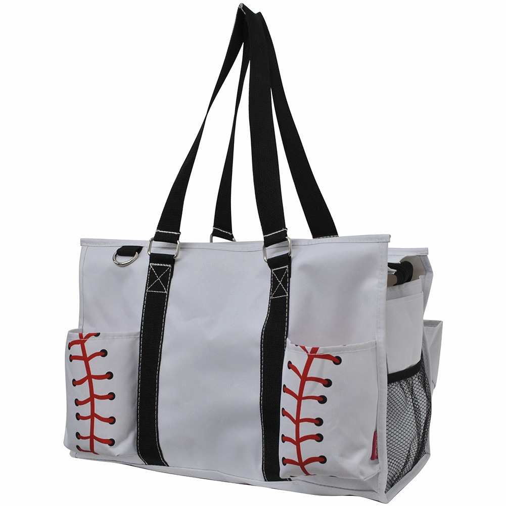 NGIL White Baseball Large Utility Canvas Tote Bag