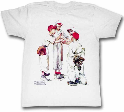Norman Rockwell Choosin' Up White Baseball Adult Small T-Shirt<br>ONLY 1 LEFT!
