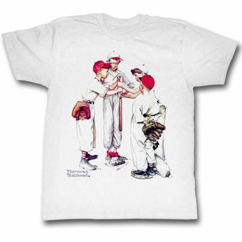 Norman Rockwell Choosin' Up White Baseball Adult Small T-Shirt<br>ONLY 2 LEFT!