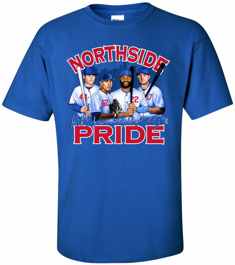 NORTHSIDE PRIDE Chicago Baseball T-Shirt<br>Short or Long Sleeve<br>Youth Med to Adult 4X