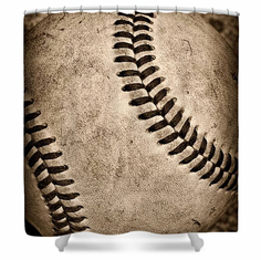 Old And Worn Baseball Shower Curtain