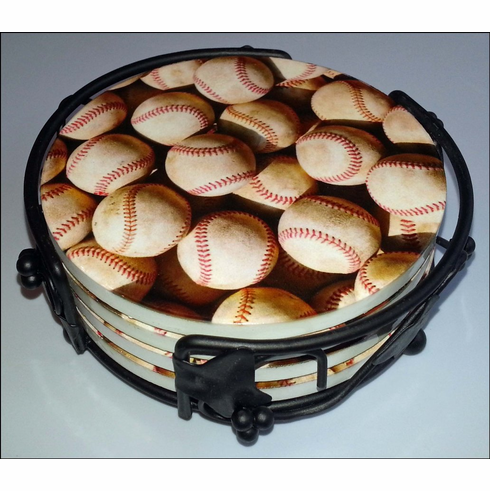 Old Baseballs Set of 4 Ceramic Drink Coasters