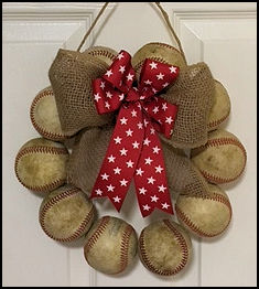 Old Used Baseballs or New White Baseballs Door Wreath