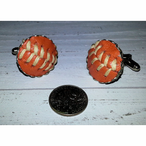 Orange Baseball Stitches Cufflinks<br>ONLY 2 PAIRS LEFT!