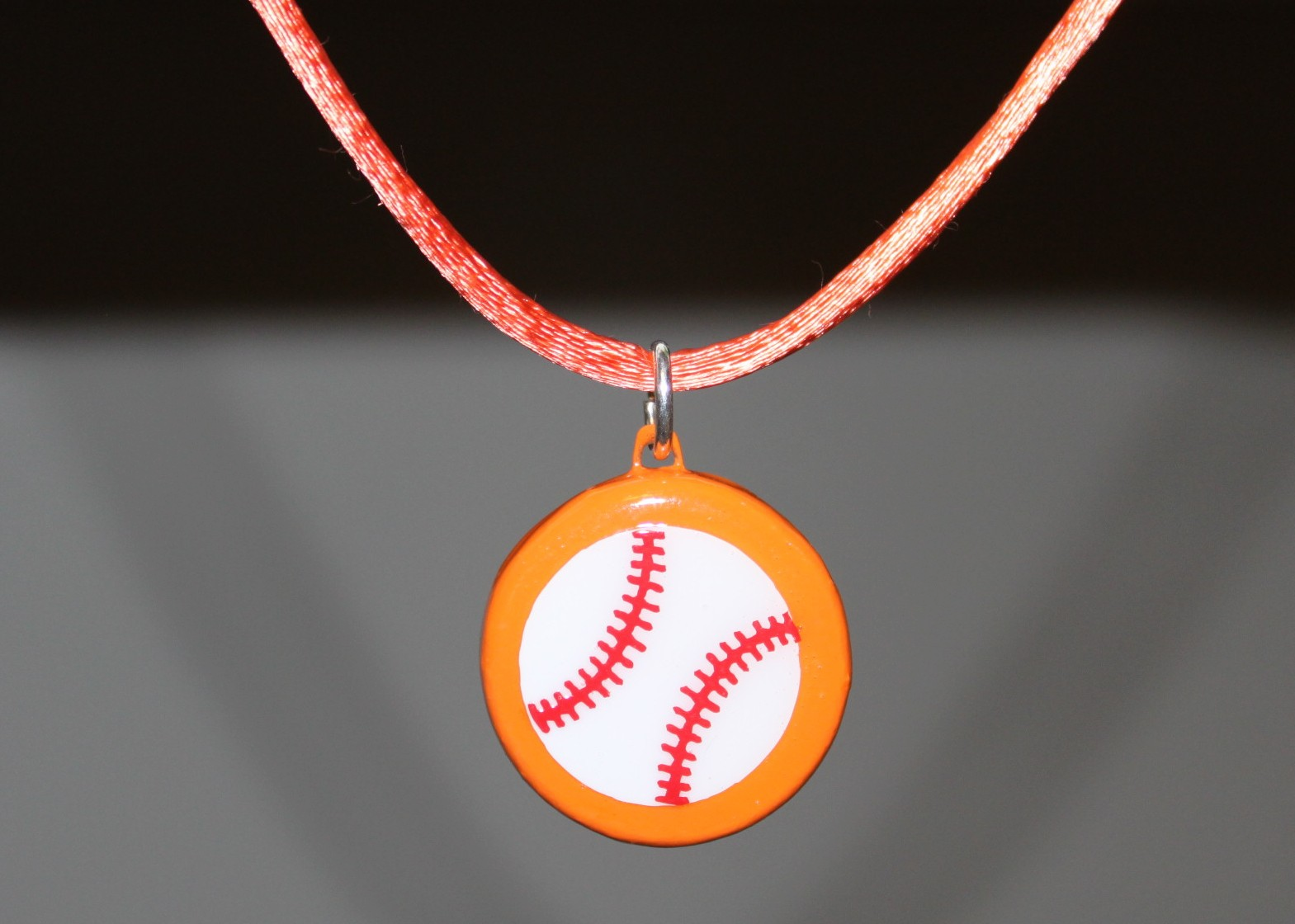 Orange Porcelain Baseball Necklace