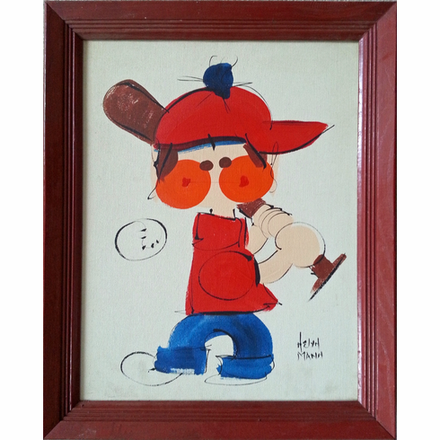 Original Baseball Painting on Canvas by Helyn Mann