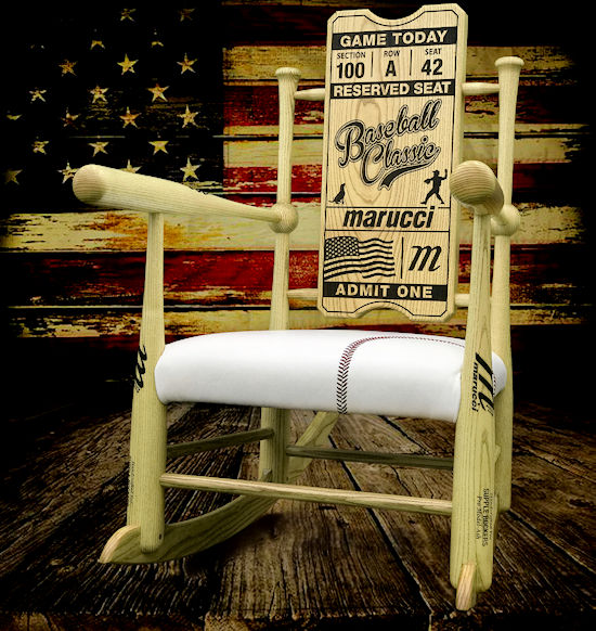 Original Custom Made Genuine Baseball Bat Rocking Chair