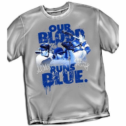 Our Blood Runs Blue Dodgers T-Shirt<br>Short or Long Sleeve<br>Youth Med to Adult 4X