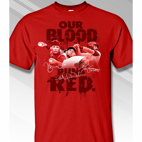 Our Blood Runs Red Cardinals T-Shirt<br>Short or Long Sleeve<br>Youth Med to Adult 4X