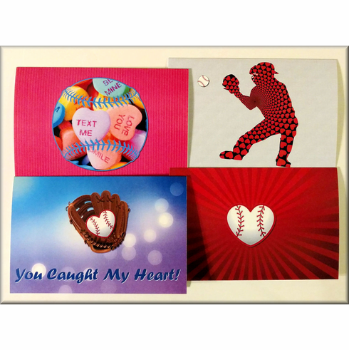 Baseball Valentine's Day Cards - Assorted Pack of 12