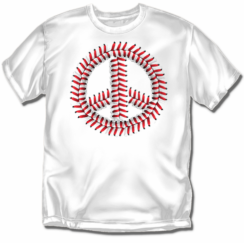 Peace Baseball White T-Shirt<br>Youth Med to Adult 4X