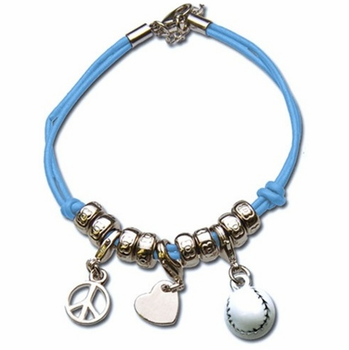 Peace Love Baseball 3-Charm Bracelet