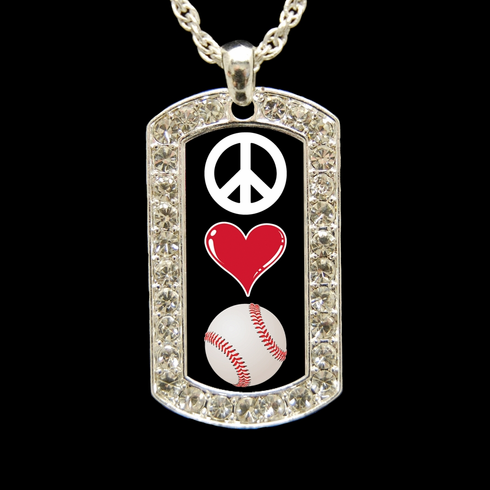 "Peace Love Baseball Crystal Dog Tag 18"" Necklace"