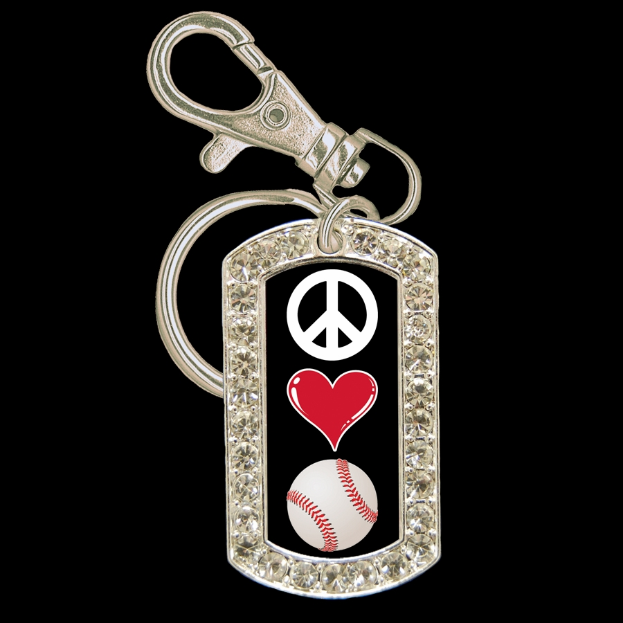 Peace Love Baseball Crystal Dog Tag Key Chain