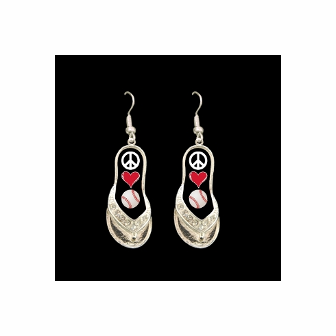 Peace Love Baseball Flip Flop Dangle Earrings