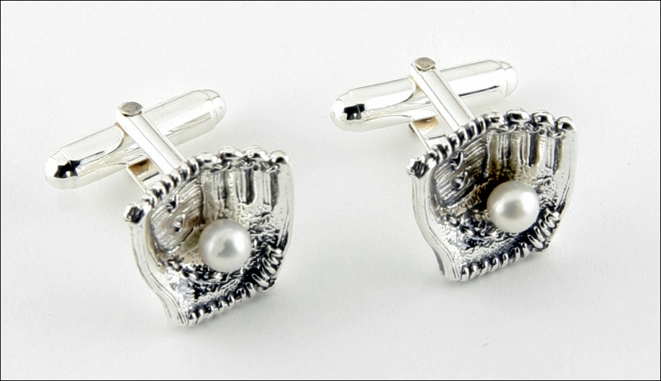 Pearl Baseball<br>Silver Cufflinks<br>LESS THAN 3 SETS LEFT!