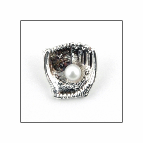 Pearl Baseball<br>Silver Tie Tack<br>LESS THAN 10 LEFT!