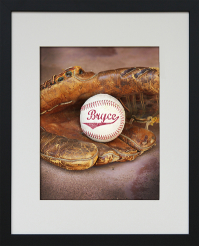 Personalized Ball in Mitt Framed Baseball Art