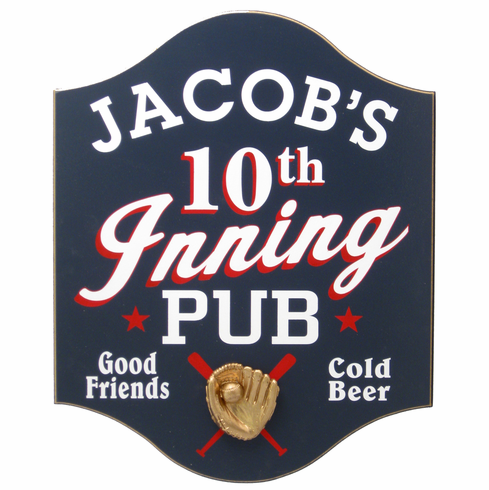 Personalized Baseball 10th Inning Pub Sign