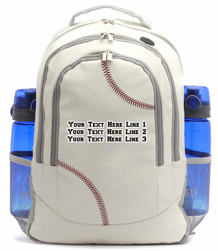 Personalized White Baseball Backpack