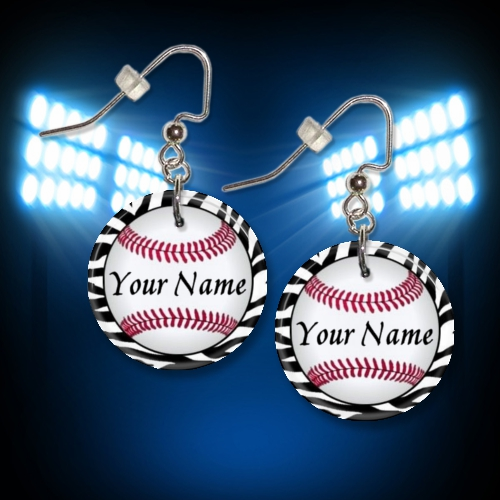 Personalized Baseball Button Zebra Border Dangle Earrings