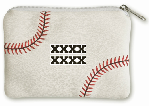 Personalized White Baseball Coin Purse