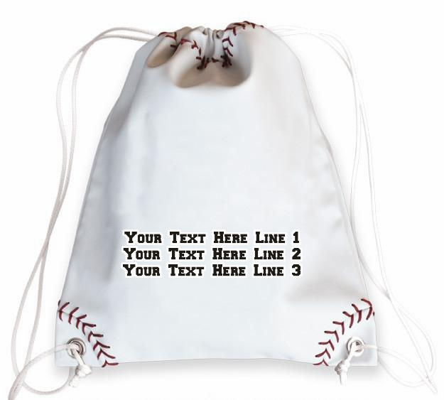 Personalized White Baseball Drawstring Bag