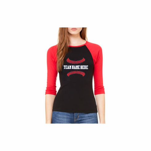 Personalized Baseball Ladies 3/4-Sleeve T-Shirt<br>Choose Your Text<br>Choose Your Colors<br>Ladies S-2X