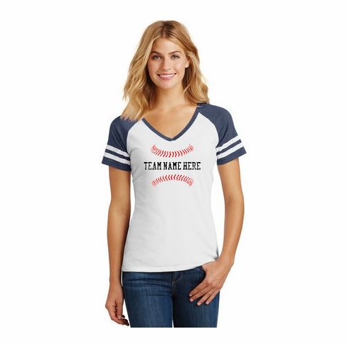 Personalized Baseball Ladies Game V-Neck T-Shirt<br>Choose Your Text<br>Choose Your Colors<br>Ladies XS-4X