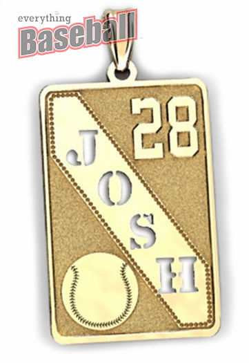 Personalized Baseball Pendant with Cut-Out Name & Number<br>GOLD or SILVER<br>NOT GUARANTEED FOR CHRISTMAS DELIVERY