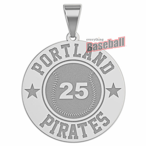 Personalized Baseball Team & Number Round Disc Pendant<br>GOLD or SILVER