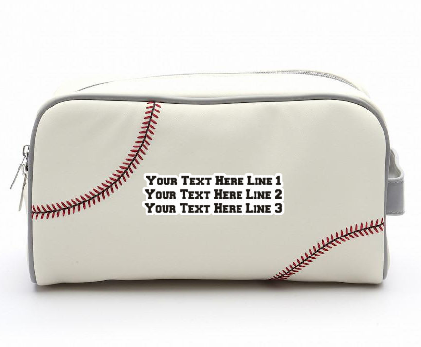 Personalized White Baseball Toiletry Bag