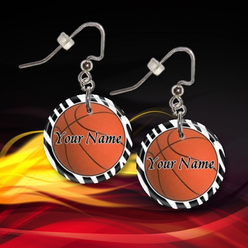 Personalized Basketball Button Dangle Earrings