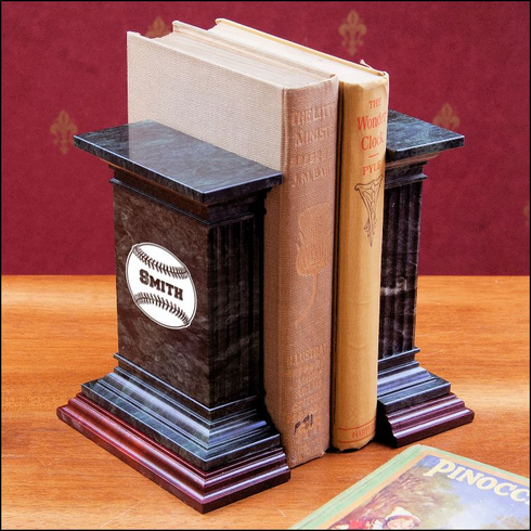 Personalized Bristol Marble Baseball Bookend Set