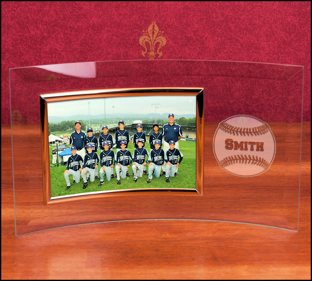 Personalized Curved Glass 4x6 Landscape Baseball Frame