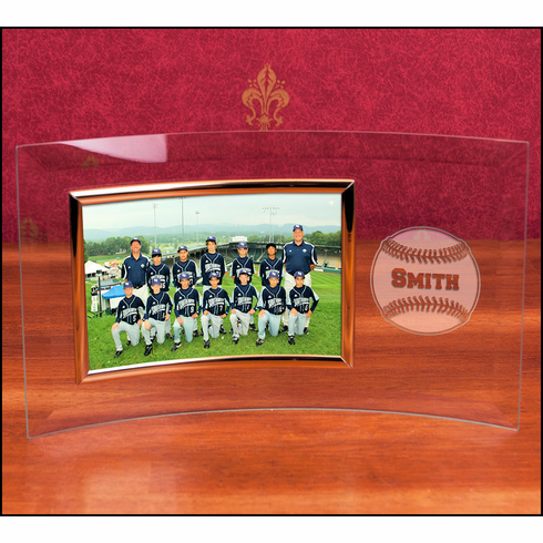 WEEKLY SPECIAL #2<br>Personalized Curved Glass 4x6 Landscape Baseball Frame