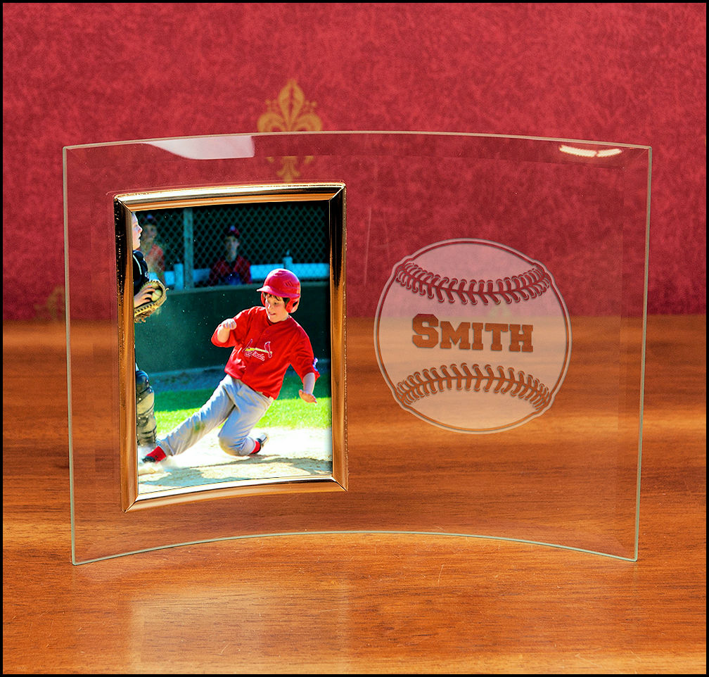 Personalized Curved Glass 4x6 Portrait Baseball Frame
