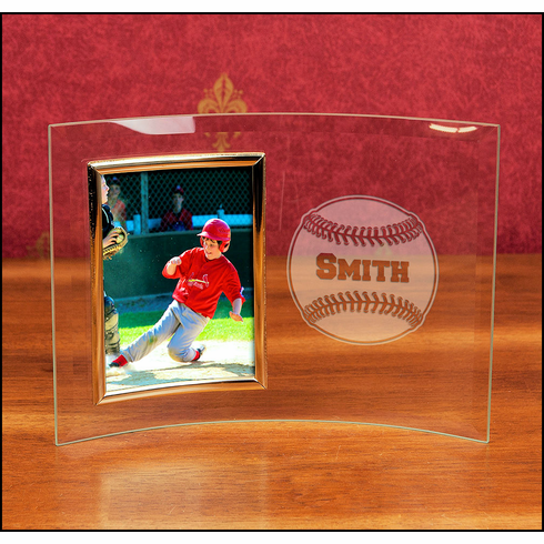 WEEKLY SPECIAL #1<br>Personalized Curved Glass 4x6 Portrait Baseball Frame