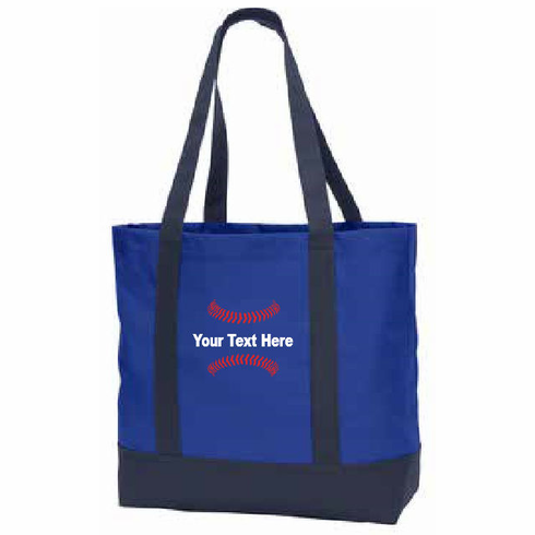 Personalized Embroidered Baseball Tote Bag<br>Choose Your Text<br>Choose Your Colors