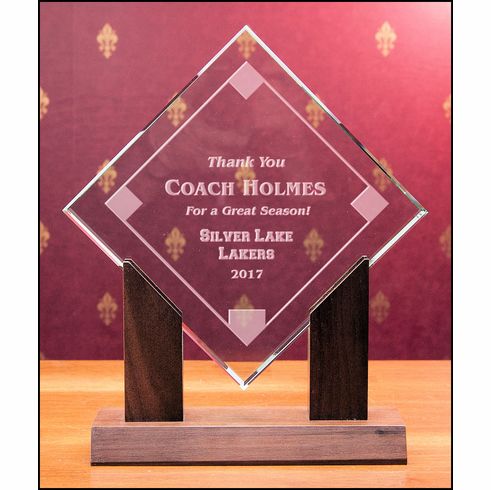 Personalized Emerald Crystal Baseball Diamond Award with Walnut Base<br>3 SIZES!